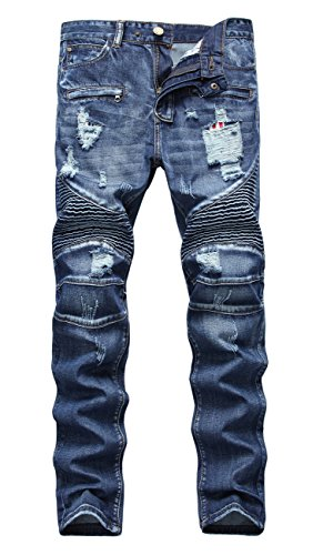 NITAGUT Men's Ripped Slim Straight Fit Biker Jeans With Zipper Deco (34Wx32L, Royal - Balmain Men For
