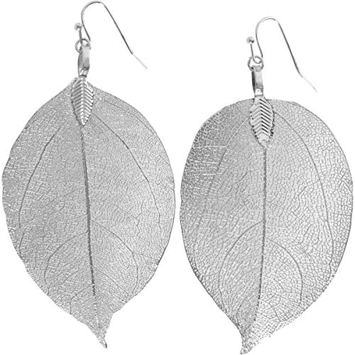 (Humble Chic Natural Leaf Earrings - Lightweight Filigree Long Drop Dangle Earrings for Women, Large Silver-Tone, 2 to 3.5 inches)