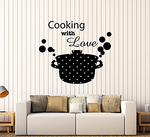 - Andre Shop Vinyl Wall Decal Kitchen Decor Casserole Pan Food Cooking with Love Stickers Large Decor21SX62i