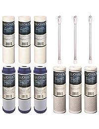 12 piezas Juego de filtros para nuestro Juego de 4 Etapa UV bajo fregadero Sistema de filtro de agua de repuesto. sedimentos bloque de carbono GAC UV foco