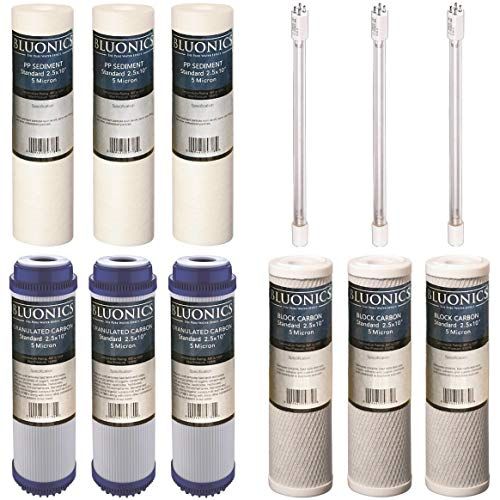 (BLUONICS 12 pc Replacement Water Filter Set for Our 4 Stage UV Under Sink Filter System. Sediment Carbon Block GAC UV Bulb)