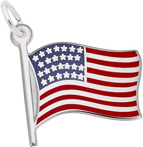 Rembrandt Enamel USA American Flag Charm - Metal - 14K White Gold