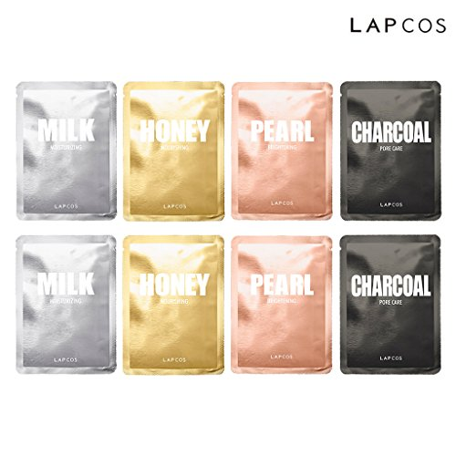 LAPCOS Daily Skin Facial Sheet Mask 4 Type Pack of 8 – Milk Moisturizing, Honey Nourishing, Pearl Brightening, Charcoal Pore Care