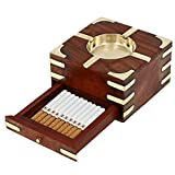 Smokers Gifts Wooden Ashtray with Tray for Cigarette Storage and Brass Inlay- Ash Tray Retro Old World Antique Look -4.5 x 4.4 x 2.5 Inches