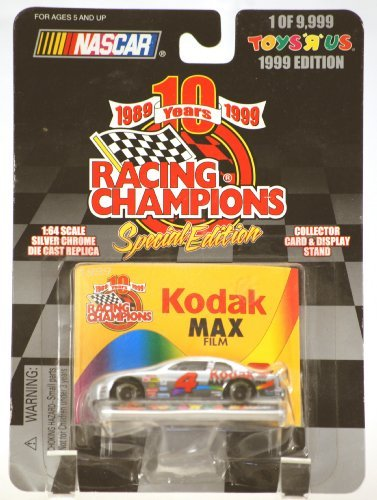 1999 - Racing Champions - NASCAR - Bobby Hamilton #4 - Kodak Max Film Racing - Chevy Monte Carlo - 1:64 Scale Die Cast Silver Chrome - Collector Card & Display Stand - 1 of 9,999 - Toys R Us Edition - MOC - LImited Edition - Collectible
