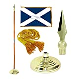 Scotland 3ft x 5ft Flag, Flagpole, Base, and Tassel ( 7 Ft Oak Pole, Metal Spear)