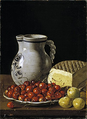 High Quality Polyster Canvas ,the Best Price Art Decorative Canvas Prints Of Oil Painting 'Melendez Luis Egidio Cerezas Sobre Un Plato Ciruelas Queso Y Jarra Ca. 1760 ', 24 X 33 Inch / 61 X 84 Cm Is Best For Kitchen Decor And Home Artwork And Gifts