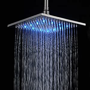 Rozin Bathroom 10-inch LED Changing Color Rainfall Shower Head Over-head Shower Spray Brushed Nickel