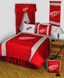 Detroit Red Wings 8 Pc FULL Size Comforter Set and One Matching Window Valance/Drape Set (Comforter, 1 Flat Sheet, 1 Fitted Sheet, 2 Pillow Cases, 2 Shams, 1 Bedskirt, 1 Matching Window Valance/Drape Set) SAVE BIG ON BUNDLING!