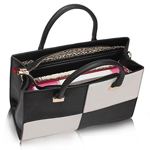 Women's 153 Genuine white Black Xl Check Large Shoulder Faux Bags Bag Designer Leahward Leather Tote 1qYHwZw