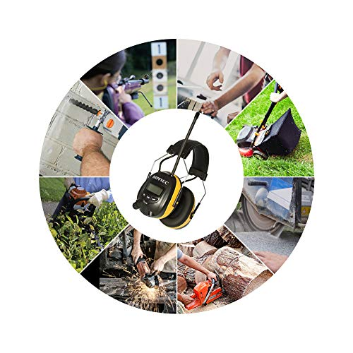 DIPFSUC Rechargeable Bluetooth AM/FM Radio Headphones,Wireless Hearing Protection Safety Work Ear Muffs with 1200mAh Li-ion Battery,NRR 25dB Noise Cancelling Headsets for Lawn Mowing/Construction by DIPFSUC (Image #6)