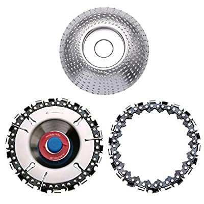 Wood Carving Disc (4 Inch, 22 Teeth, Replacement Chain) & Tungsten Grinder Shaping Disc (3-5/16 Inch Dia 5/8 Inch Bore) Anti-Kickback Double Saw Teeth Shaper,Angle Grinder Attachments for Wood Cutting