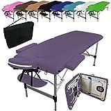 Linxor France ® Table de massage pliante 2 zones en aluminium + accessoires et housse de transport - Neuf coloris - Norme CE