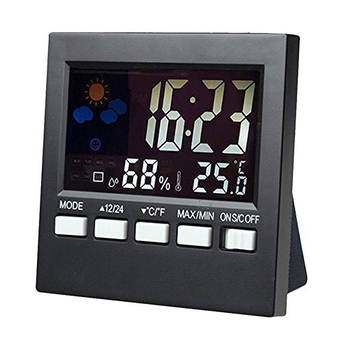 Price comparison product image Digital Kitchen Timer,  Clock,  LCD Screen,  Big Digits,  Loud Alarm,  Snooze,  Temperature,  Humidity,  Black