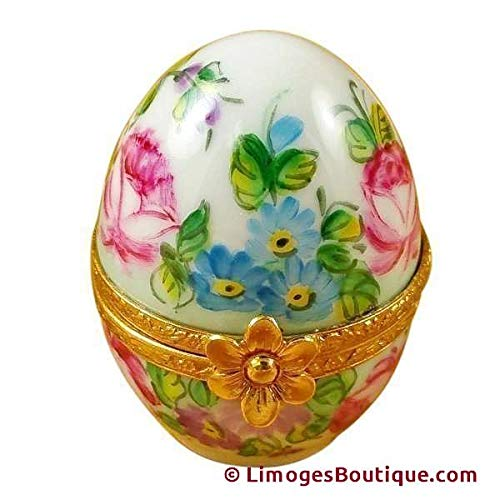 PINK FLOWERY EGG - LIMOGES PORCELAIN FIGURINE BOXES AUTHENTIC IMPORTS