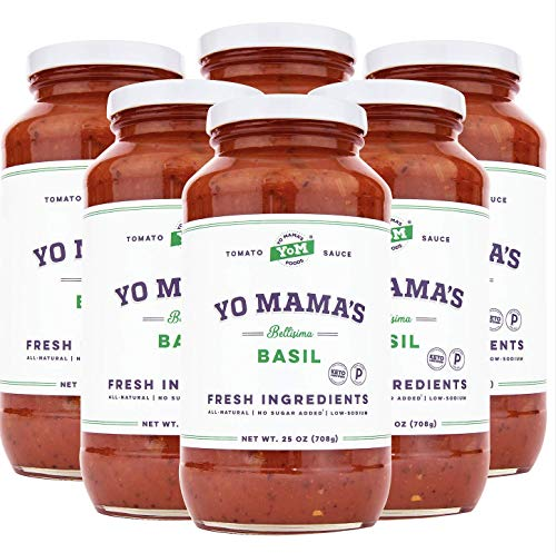 Keto Tomato Basil Pasta Sauce by Yo Mama's Foods - Pack of (6) - No Sugar Added, Low Carb, Low Sodium, Vegan, Gluten Free, Paleo Friendly, and Made with Whole, Non-GMO Tomatoes
