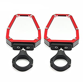 red TOPMOUNT 2pcs//Set Side View Mirror for Polairs RZR 1000 XP for Yamaha Rhino 1.75 UTV SXS Roll Cage Side Mirrors Rearview Convex for Can-Am Commander 1000