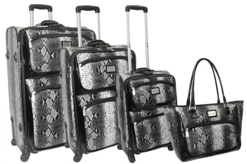 Madison Ave Snakeskin 4 Piece Luggage Set Color: Black, Bags Central