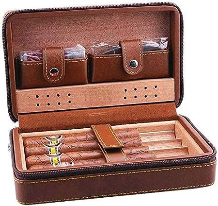 AMITD Humidor de Puros portátil de Madera de Cedro Puro, Caja para Guardar Puros, humidificador para 4 Cuentos, Color marrón: Amazon.es: Hogar