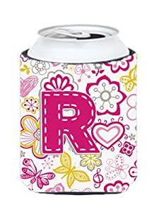 Letra R flores y mariposas de color rosa o botella Hugger CJ2005-RCC