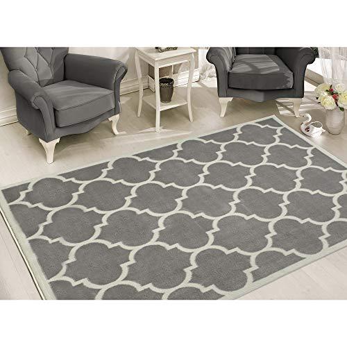 Sweet Home Stores Clifton Collection Light Grey Moroccan Trellis Design (8 x 10) Area Rug...