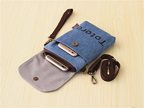 Abaddon Vintage Printed Handmade Women Mini Crossbody Bag Cellphone Pouch Small Handbag Coin Purse (blue totoro) by Abaddon (Image #4)'