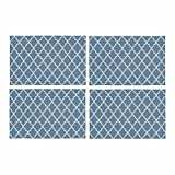 InterestPrint Light Blue Ornate Chic Moroccan Islamic Pattern Quatrefoil Lattice Placemat Place Mat Set of 4, Table Place Mats for Kitchen Dining Table Restaurant Home Decor 12''x18''