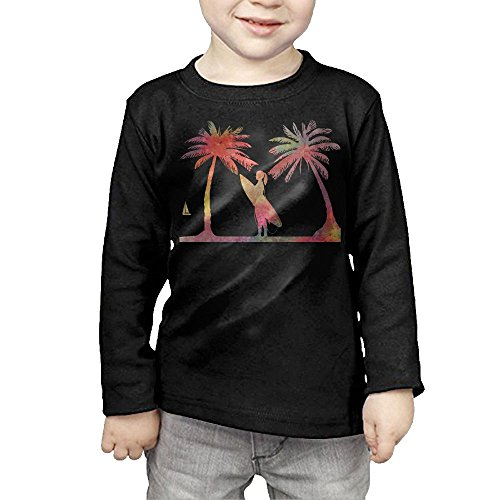 HTTQ Beautiful Young Surfer Girl Palm Tree Kids Children Unisex Long Sleeve Cotton Crew Neck T-Shirt Tee 3 Toddler