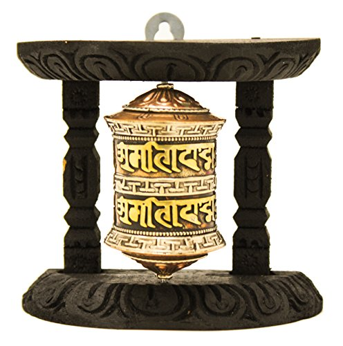 Om Brass Wall Hanging (Tibetan Buddhist 8 Lucky Symbols Om Mani Padme Hum Spinning Wall Hanging Table Top Wood Carved Spiritual Prayer Wheel (Mani Wheel) (Small (Small: 4 x 4x 2), Brass))