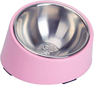 Super Design Mess Free 15 Degree Slanted Bowl for Dogs and Cats 1.5 Cup Light Pink