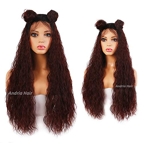 (Andria Hair Ombre Dark Auburn Lace Front Synthetic Wigs Long Curly Loose Natural Wavy Heat Resistant Hair Pre Plucked Wig with Baby Hair Bleached Knots for Women (26