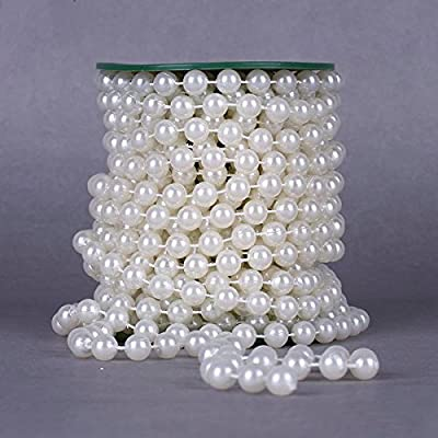 Krismile® 10meters Roll 10mm Pearl String Party Garland Wedding Centerpieces Bridal Bouquet Decoration/t Ivory Pearl String Bead Garland Wedding Decoration DIY Table Centerpieces Bridal Shower Party Supplies