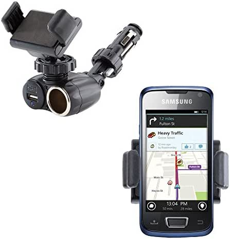Dual USB / 12V Charger Car Cigarette Lighter Mount and Ultra Compact Holder for the Samsung Beam Halo