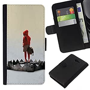 JackGot ( Emo Trap ) Sony Xperia M2 la tarjeta de Crédito Slots PU Funda de cuero Monedero caso cubierta de piel