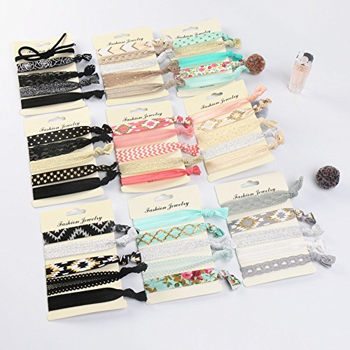 Beauty Wig World 9 Pack Elastic Ribbon Hair Ties Set, 45 Pcs No Crease Ponytail Holder Hair Bands Hair Supplies, Colorful Bracelet for Girl and Women Hair Accessories