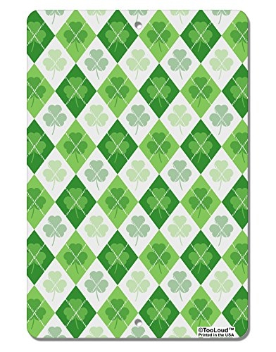 TooLoud St Patrick's Day Green Shamrock Argyle Aluminum 8 x 12