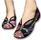 Embroidered Chinese Style Embroidery Flats Ballet Crafts Women's Shoes Beige Black ((B(M) US8/EU39/UK6/CN39), Black)
