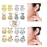Earring Backs Lifters - Magic Bax 8 Pairs Earring Backs Set Adjustable Hypoallergenic Safety Locking Stud Earring Lifts Accessories for Women and Girls(4 Silvery, 4 Gold)