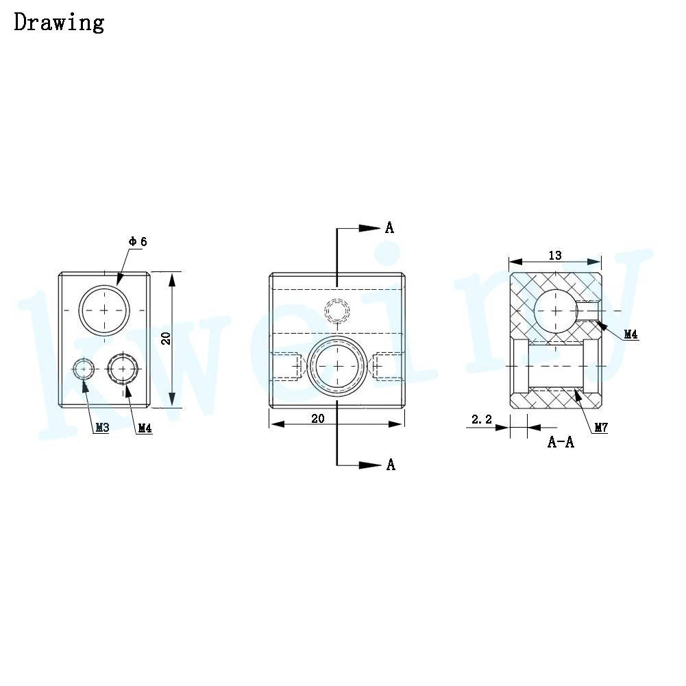 Blocco riscaldatore per stampante 3D Hotend versione migliorata compatibile con termistore M3 e M4 Kweiny MK10