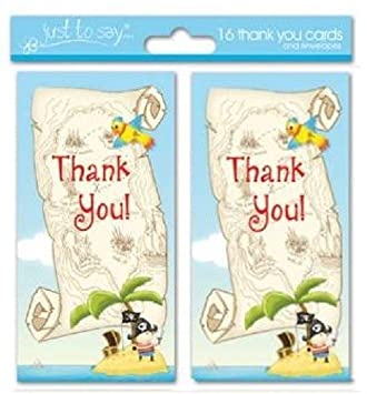 16 X Pirate Boys Thank You Cards Ideal For Birthday Amazon Co Uk