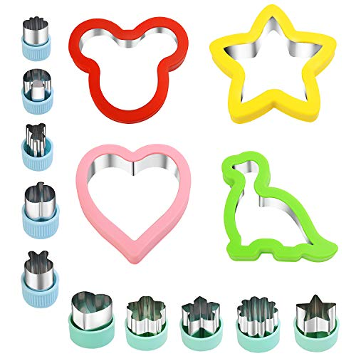 VSADEY Cookie Cutters 14 Pcs, Cookie Cutter Set with Large Heart, Mickey Mouse, Dinosaur, Star Cookie Cutter and Mini Cookie Cutters Cutter Shapes for Holiday and Party