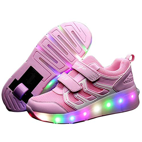 Ehauuo Unisex Light Up Roller Shoes LED Skates Shoes Retractable Single Wheel Shoes Roller Sneakers...