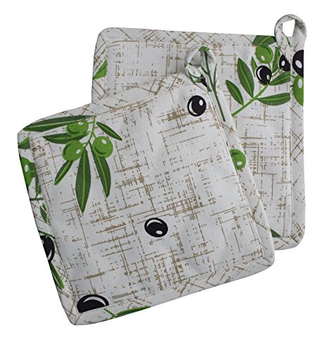 Airwill 100% Cotton, Pot Holder Gift Set - Set of 2-8 x 8, Heat Resistant, Machine Washable, Superior Protection & Comfort–Elegant Design for Everyday Kitchen Basic - Cream[Green Leaf] by Airwill