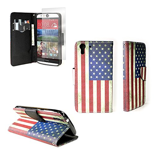 HTC Desire EYE Wallet Phone Case and Screen Protector (American Flag) | CoverON (CarryAll) Pouch Series | Tough Textured Unique Design Protective Exterior Flip Stand Cover with Credit Card Slots and Cash Pocket for HTC Desire EYE (Case Wallet Eye Desire Htc)