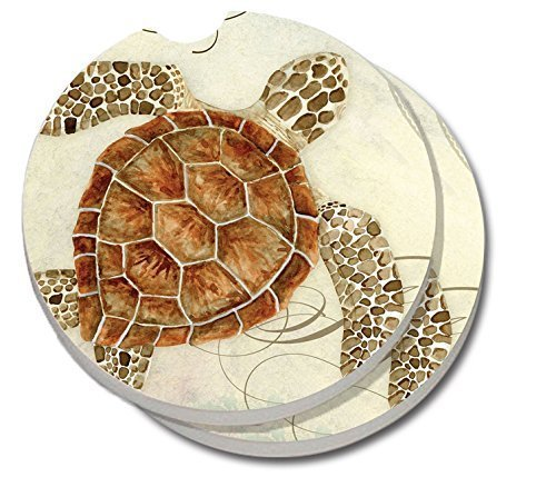 CounterArt Absorbent Stoneware Car Coaster, Sea Turtle, Set of 2 Car Coaster Set