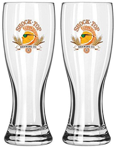 Shock Top Brewing Company 16oz Pilsner Beer Glass Set of Two Glasses (Shock Top Beer Glass)