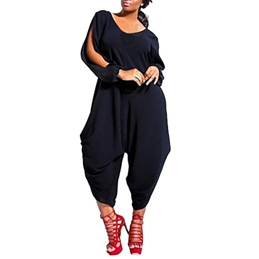 4b073dc3ed01f Women Plus Size Summer Wide Leg Harem Jumpsuits Casual One-Piece Romper  Outfits Solid Long