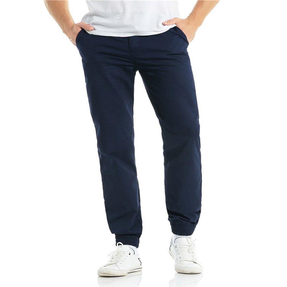 Molyveva Fashion Men Casual Harlan Beam Trousers Drawstring Zipper Pure Pants