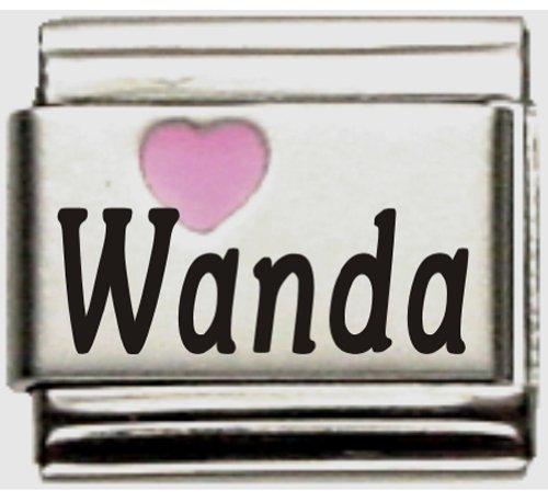 Wanda Pink Heart Laser Name Italian Charm Link