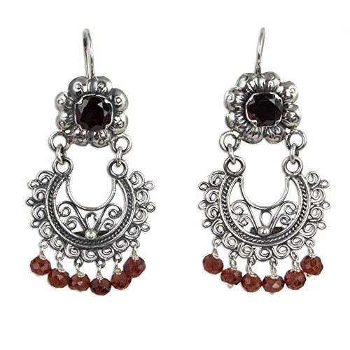 NOVICA Garnet .925 Sterling Silver Chandelier Earrings 'Mazahua Lady'